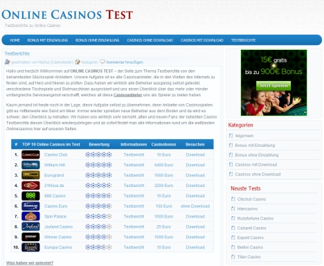 internet casinos test
